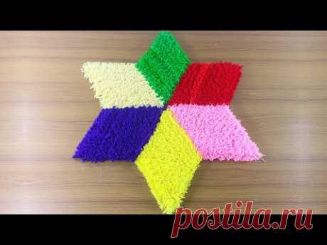 ☔রেইনবো কালার ডোরমেট আইডিয়া 🚲 Make Multi Color Doormat at Home 💙 Rainbow Colors Doormat ! - YouTube