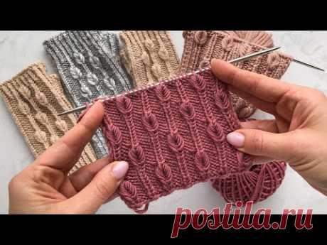 Шикарный узор!! Невероятно красивая резинка с листочками для шапок, жилетов, кардиганов, свитеров.