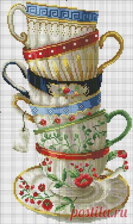 Очаровательные чашки! Вышивка крестом, схема Страаашно понравились чашечки! Вышивать не умею, но, может когда-нибудь!.. В общем, вы поняли... )))))) (С.З.)     ©
