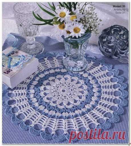 Бело-голубая салфетка