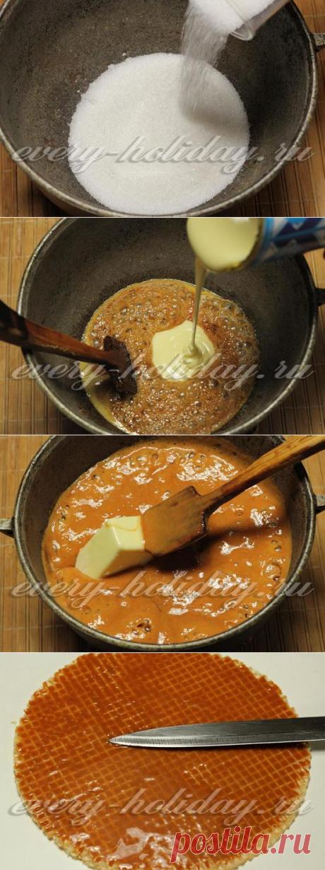 Торт из вафельных коржей: рецепт с фото  =- сахар мелкий – 1 стакан; - сгущенное молоко – 1 баночка (400 гр); - масло сливочное – 120 гр; - вафельные коржи – 1 упаковка; - молочный или черный шоколад – 100 гр; - ядра грецких орехов или любые молотые орехи – для украшения.