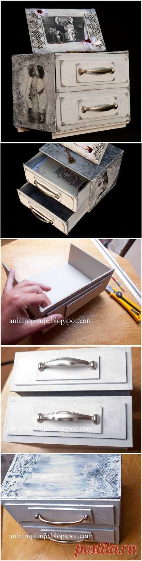 Комодик и рамочка для фотографий из картона. Мастер-класс.
