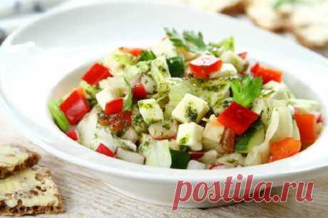 Вкусный салат с моцареллой и овощами – пошаговый рецепт с фото.