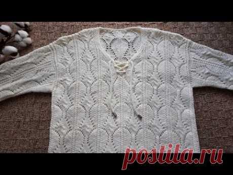 Джемпер ( или пуловер) Молочный с красивым узором. // Джемпер в  спортивном стиле.//
