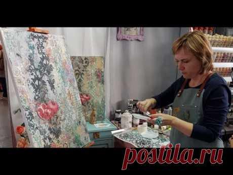 Интерьерное микс медиа панно В тени граната: Наталья Жукова на выставке Формула Рукоделия