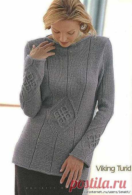 Пуловер с фактурным узором.