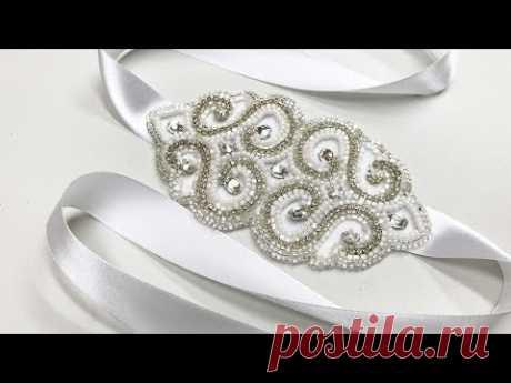 Люневильская вышивка на поясе свадебного платья
