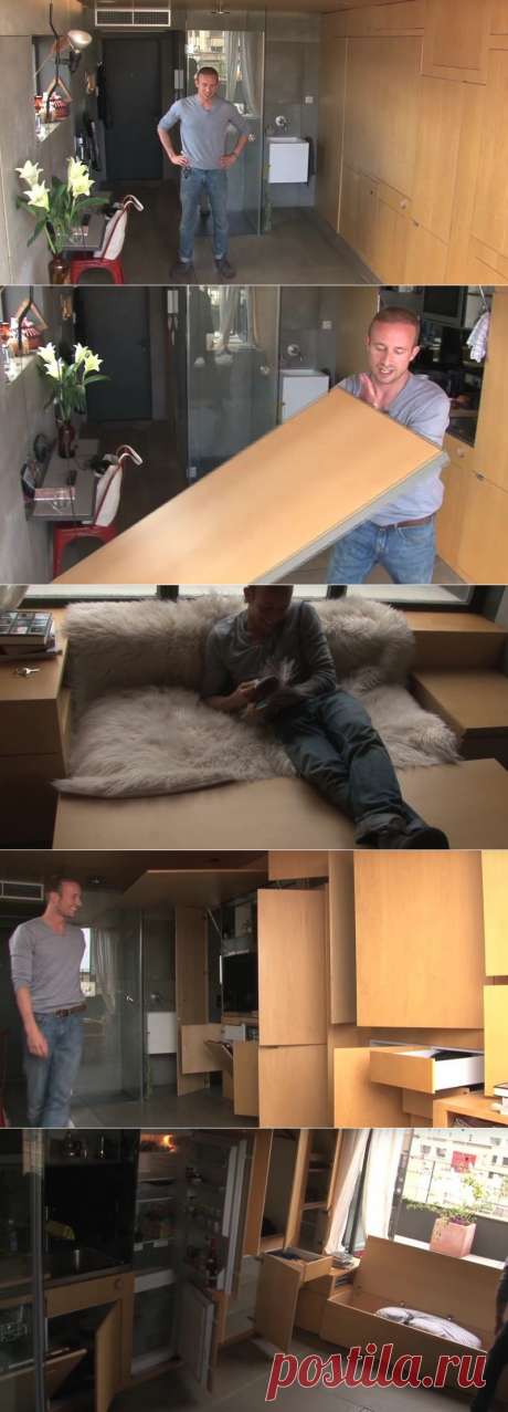 The fact that he made of the apartment in 24 sq.m. just shocks with the genius!