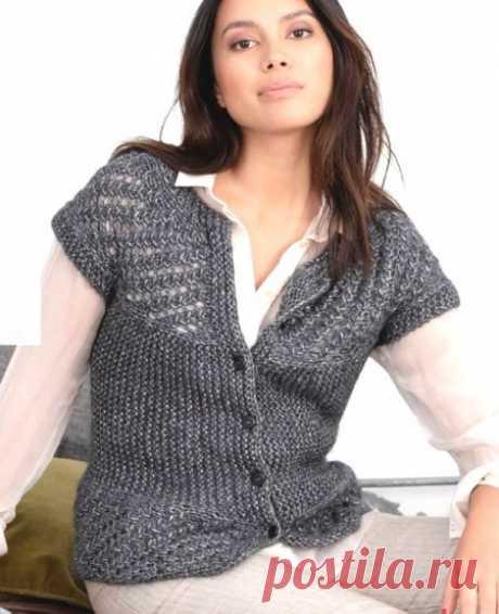 Вязание жакета с короткими рукавами