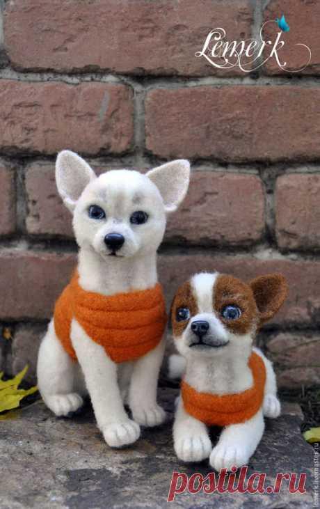 Купить Белка и Стрелка. Валяные собачки из шерсти - оранжевый, собака, собачка, собаки, собака игрушка