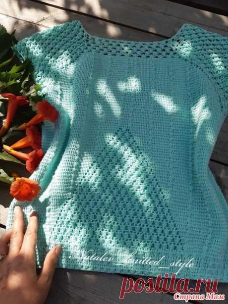 Мятная кофточка крючком - Вязание - Страна Мам