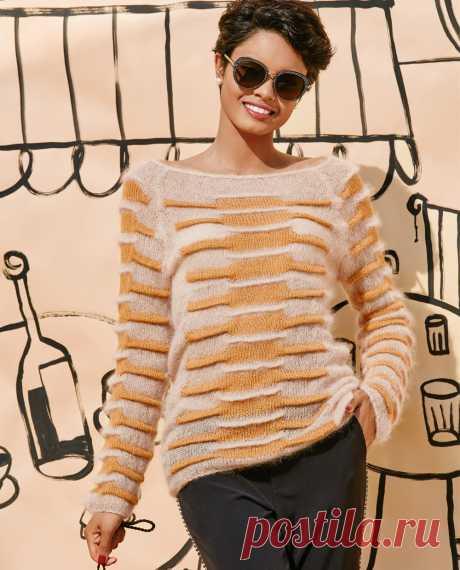 Пушистый джемпер с рельефным узором - схема вязания спицами. Вяжем Джемперы на Verena.ru