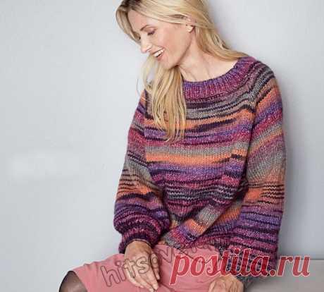 Пуловер оверсайз из секционной пряжи - Хитсовет