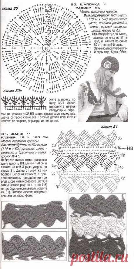 Вязанные крючком шапка и шарф с ажурным узором.