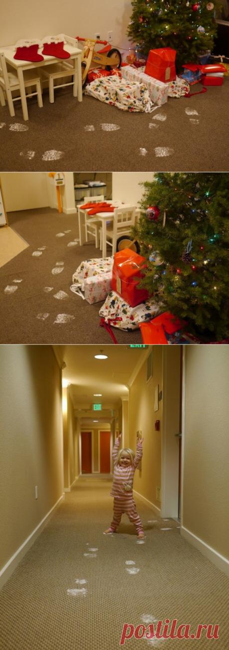 Как сделать следы Деда Мороза