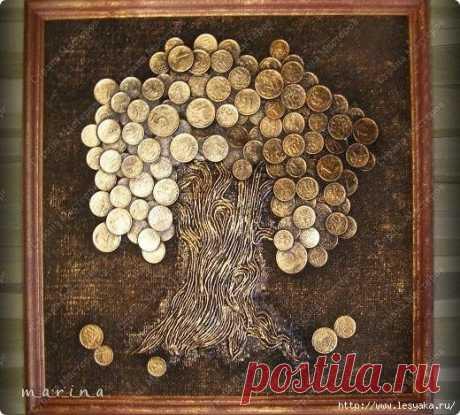 """Панно """"Денежное дерево"""", привлекающее богатство, своими руками!"""