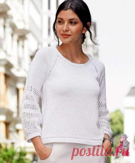 Пуловер реглан с фольклорной отделкой  Нарядный белый пуловер украшен сетчатым узором и сквозными дорожками как в продольном, так и поперечном направлениях. Широкие рукава перехвачены внизу узкими планками.   Размеры: 36 (38/40) 42 (44/46)   Вам потребуется: пряжа (97% хлопка, 2% полиэстера, 1% полиамида; 160 м / 50г)- 400 (450)500 (550) г белой; спицы № 4; короткие спицы №4.  Лицевая гладь (спицы № 4): лицевые ряды — лицевые петли, изнаночные ряды — изнаночные петли.  Дво...