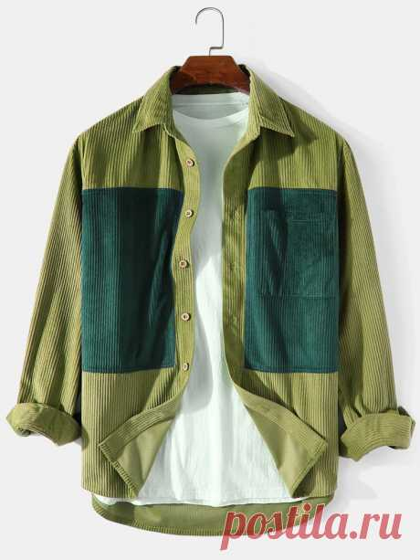 Banggood Design Mens Corduroy Patchwork Solid Color Long Sleeve Cargo Shirts Wit - US$22.99