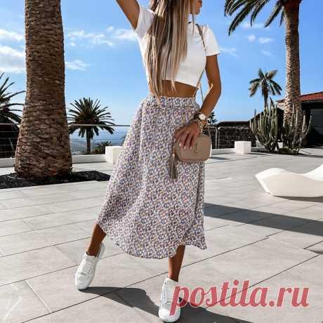 Весенняя Повседневная Женская юбка миди платье трапециевидной формы с цветочным принтом с высокой талией в стиле «Бохо юбка элегантная винтажная женская летняя стильная юбка лето 2021
