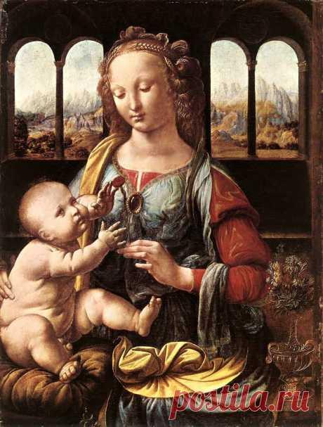 """Мадонна с гвоздикой. (её называют ещё """"Мадонна c вазой"""" 1475, деревo,масло, 62x47.5cм, Мюнхен(Alte Pinakothek),Германия."""