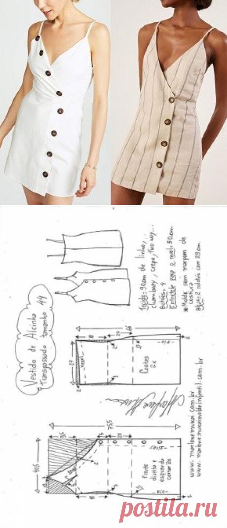 Vestido de alcinhas transpassado com botões | DIY - molde, corte e costura - Marlene Mukai