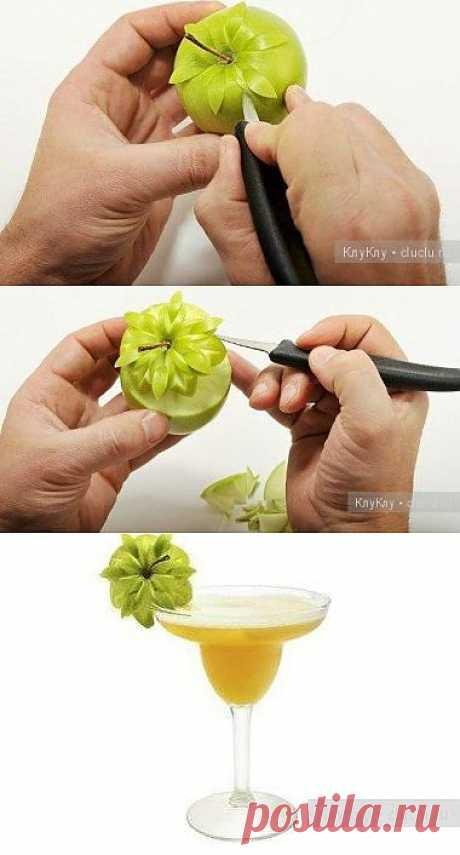 Цветок из яблока. Урок карвинга
