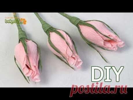 БУТОН РОЗЫ ИЗ КОНФЕТ☆ Бутоны роз из гофрированной бумаги ☆ МАСТЕР-КЛАСС
