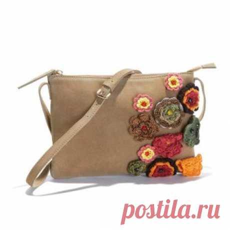 Сумка-клатч из невыделанной кожи с вязаным цветочным узором темно-бежевый Mademoiselle R
