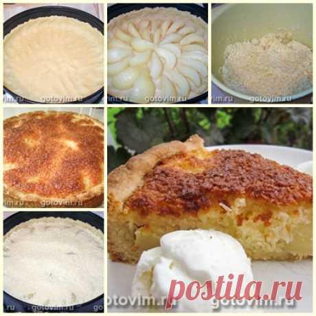 Пирог из песочного теста с грушами и кокосовой стружкой