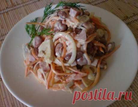 Салат «Чудо» с ветчиной и консервированной фасолью