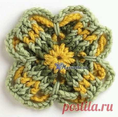 Трехцветный мотив крючком для вязания пледа или подушки