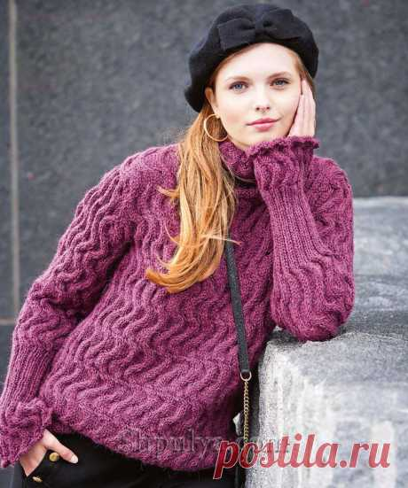 Удлиненный пуловер оборками на рукавах — Shpulya.com - схемы с описанием для вязания спицами и крючком