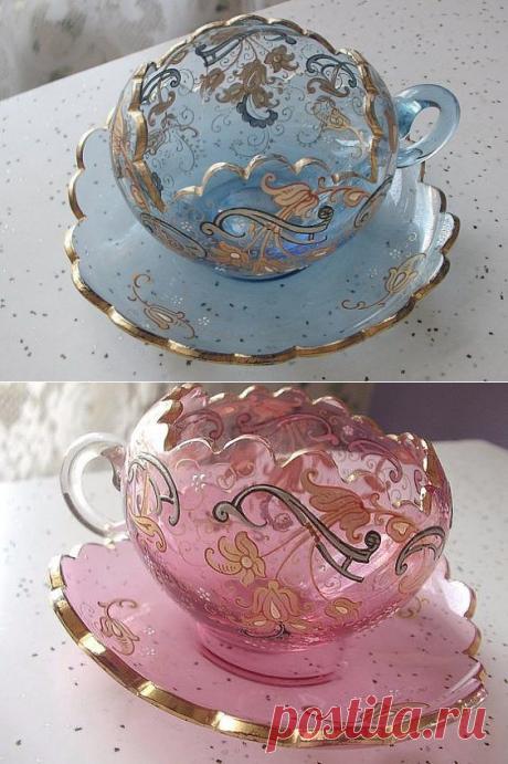 Стеклянные кружева прозрачных чашек: идеи — Сделай сам, идеи для творчества - DIY Ideas