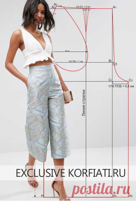 Pattern of trousers culottes from Anastasia Korfiati Bryuki-kyulota - the real hit of a season! You will be able to construct this simple pattern of trousers culottes literally in 15 minutes. Ideal landing and exact cut of trousers.