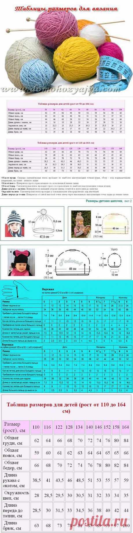 Таблицы размеров для вязания | Домохозяйка