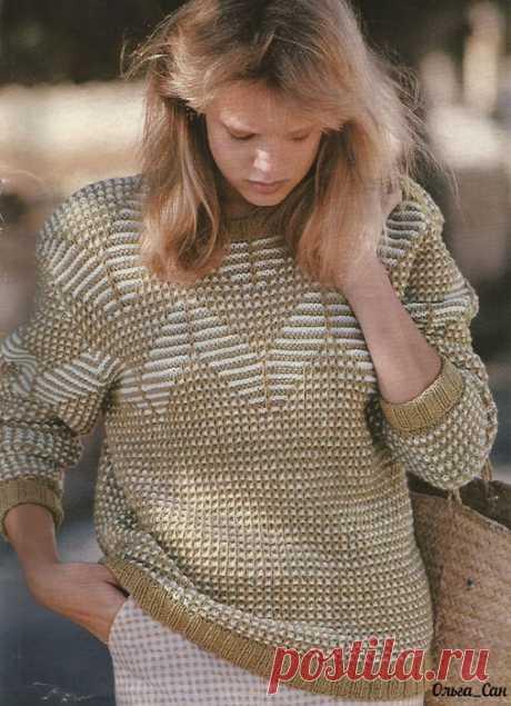 Пуловер. Рельефные стежки.
