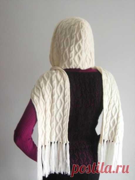 Вязаный шарф-капюшон   Вязание спицами аксессуаров