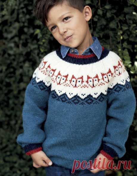 Детский джемпер с лисятами - Verena.ru