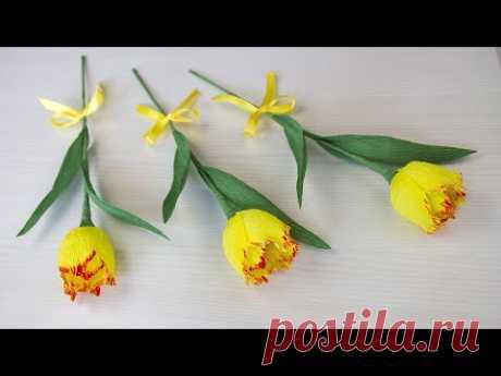 Желтые тюльпаны из гофрированной бумаги и конфет. Поделки на 8 марта.