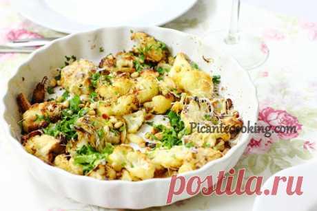 Запечена цвітна капуста з часником і сиром | Picantecooking