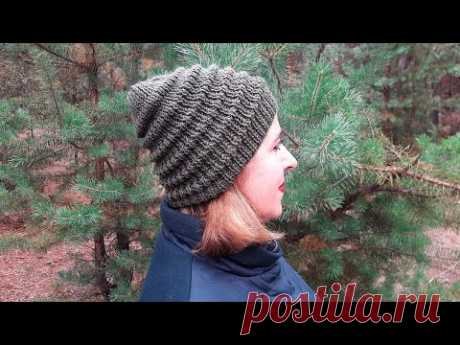 Женская шапка спицами узором «Волна» (+ВИДЕО) - Затейка.com.ua - рецепты вкусных десертов, уроки вязания схемы, народное прикладное творчество
