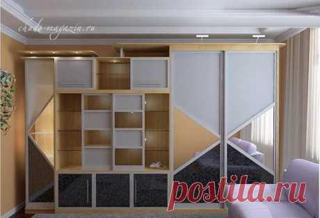 Стенка со шкафом купе в гостиную на заказ: фото, проект