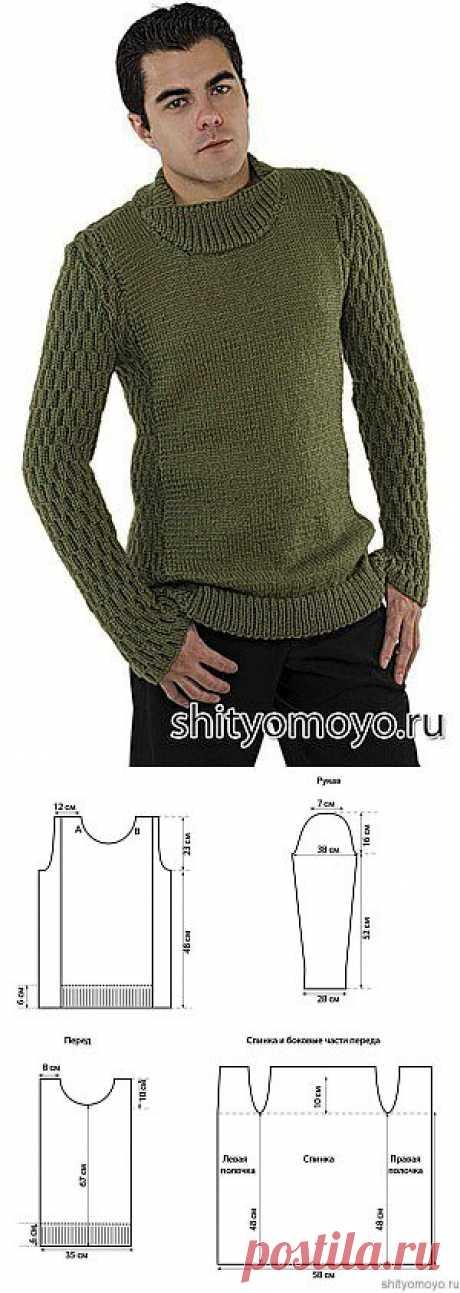 Мужской джемпер, связанный спицами. Описание бесплатно/Для мужчин/Вязание/Статьи / Шитье, вязание, рукоделие, бисероплетение