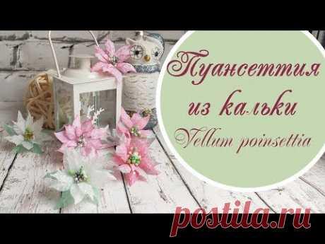 Пуансеттия из кальки / vellum poinsettia tutorial