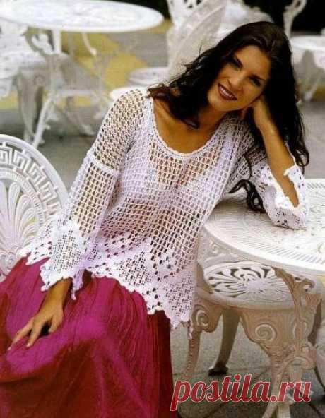 Ажурный пуловер, Вязание для женщин
