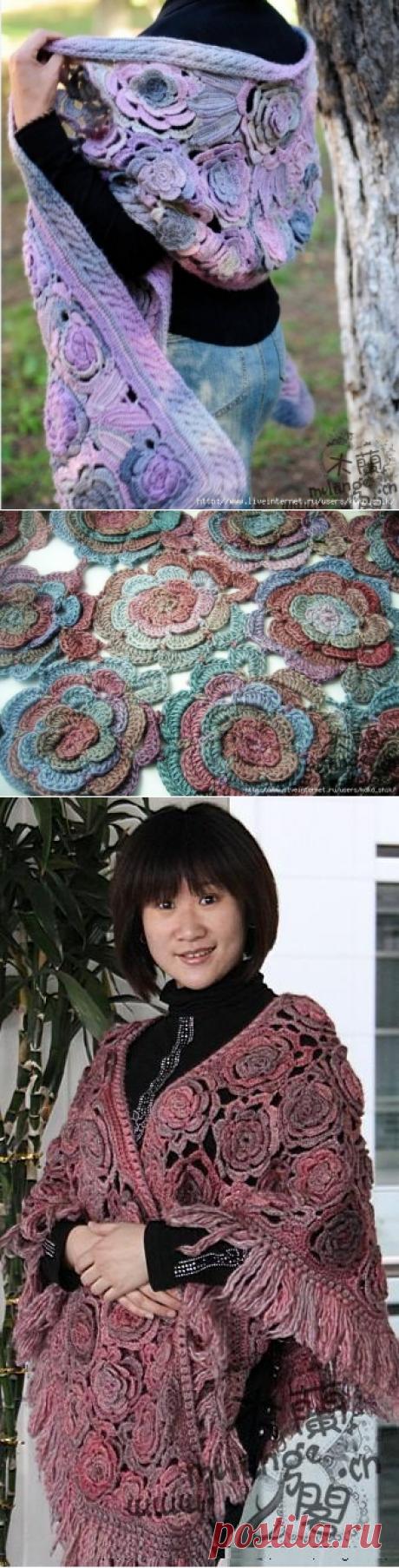"""Палантин и жакеты """"Розы из Китая"""" в технике фриформ. Видео-МК и схемы вязания розы"""