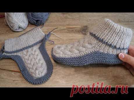 Бесшовные следки спицами с королевской косой 👑 Homemade knitted slippers 👌🏻 - YouTube