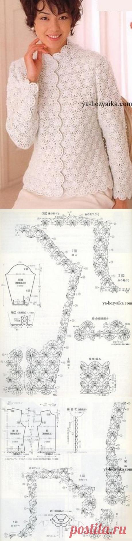 Элегантный жакет крючком. Схема вязания жакета крючком