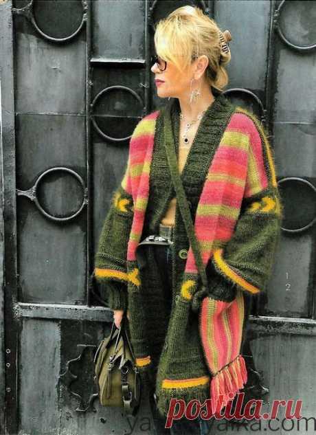 Цветное вязаное пальто спицами со схемами. Пальто бохо светланы волкодав