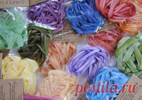Как окрасить шелковые ленты для вышивки